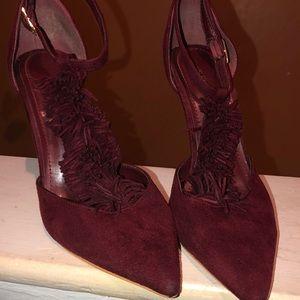 Burgundy suede shoe